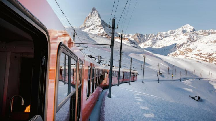 A train below the Matterhorn